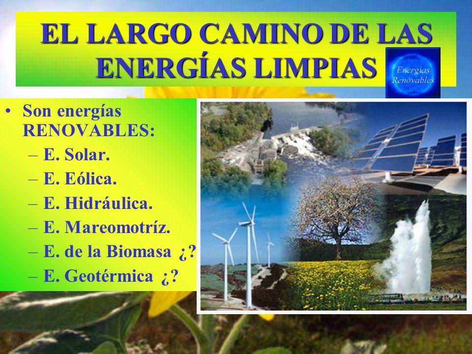 EL LARGO CAMINO DE LAS ENERGÍAS LIMPIAS Son energías RENOVABLES: –E. Solar. –E. Eólica. –E. Hidráulica. –E. Mareomotríz. –E. de la Biomasa ¿? –E. Geot