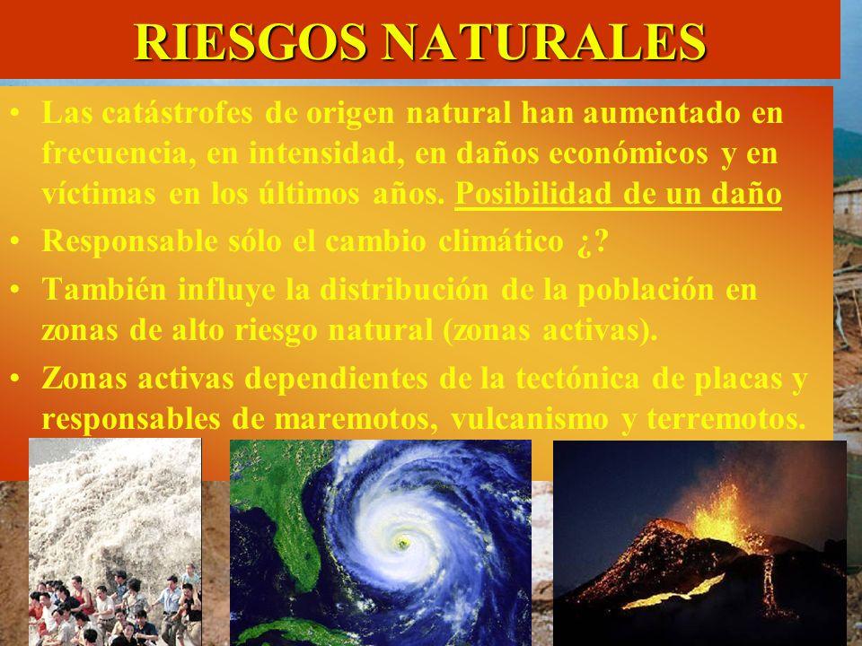 RIESGOS NATURALES Las catástrofes de origen natural han aumentado en frecuencia, en intensidad, en daños económicos y en víctimas en los últimos años.