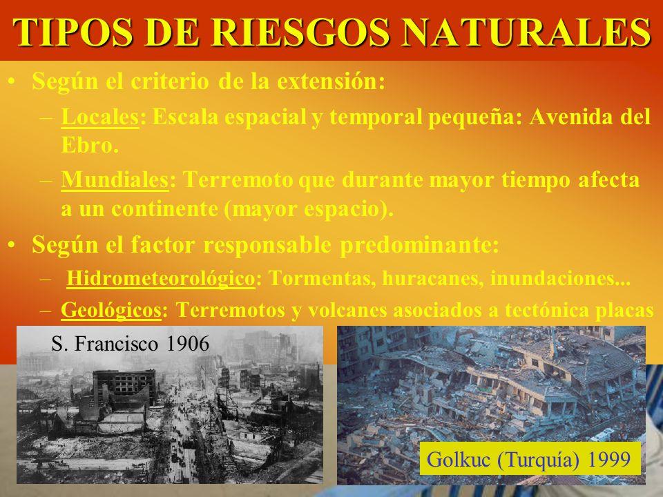 TIPOS DE RIESGOS NATURALES Avenida del río Ebro a su paso por Castejón Según el criterio de la extensión: –Locales: Escala espacial y temporal pequeña