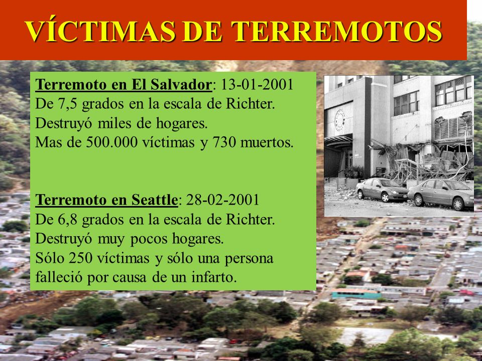 Terremoto en El Salvador: 13-01-2001 De 7,5 grados en la escala de Richter. Destruyó miles de hogares. Mas de 500.000 víctimas y 730 muertos. Terremot