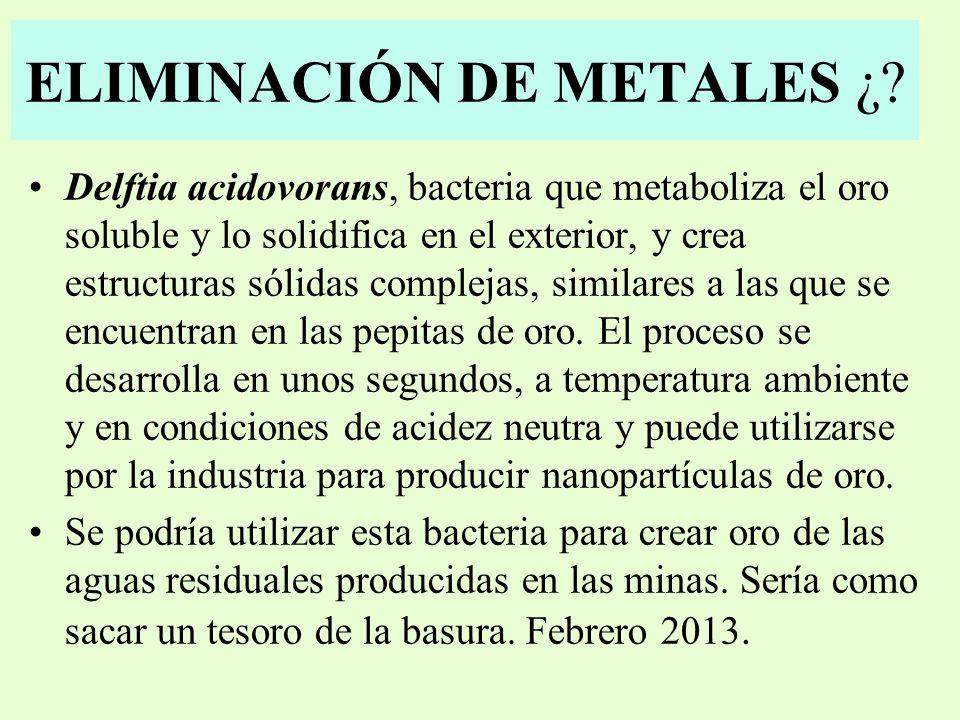ELIMINACIÓN DE METALES ¿.