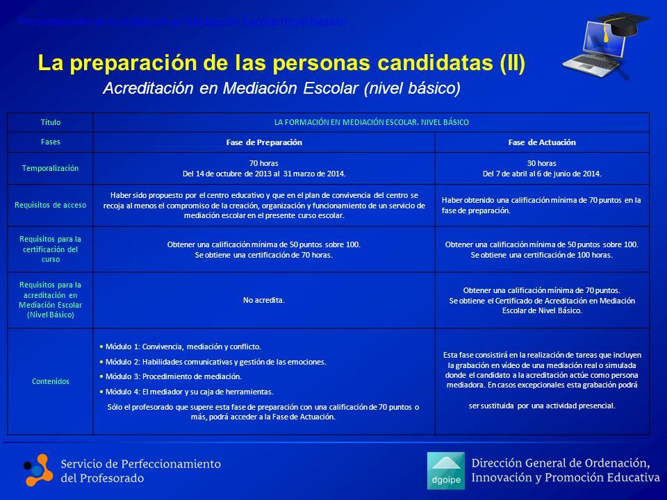 La preparación de las personas candidatas (II) Procedimiento de Acreditación en Mediación Escolar (nivel básico) Acreditación en Mediación Escolar (ni