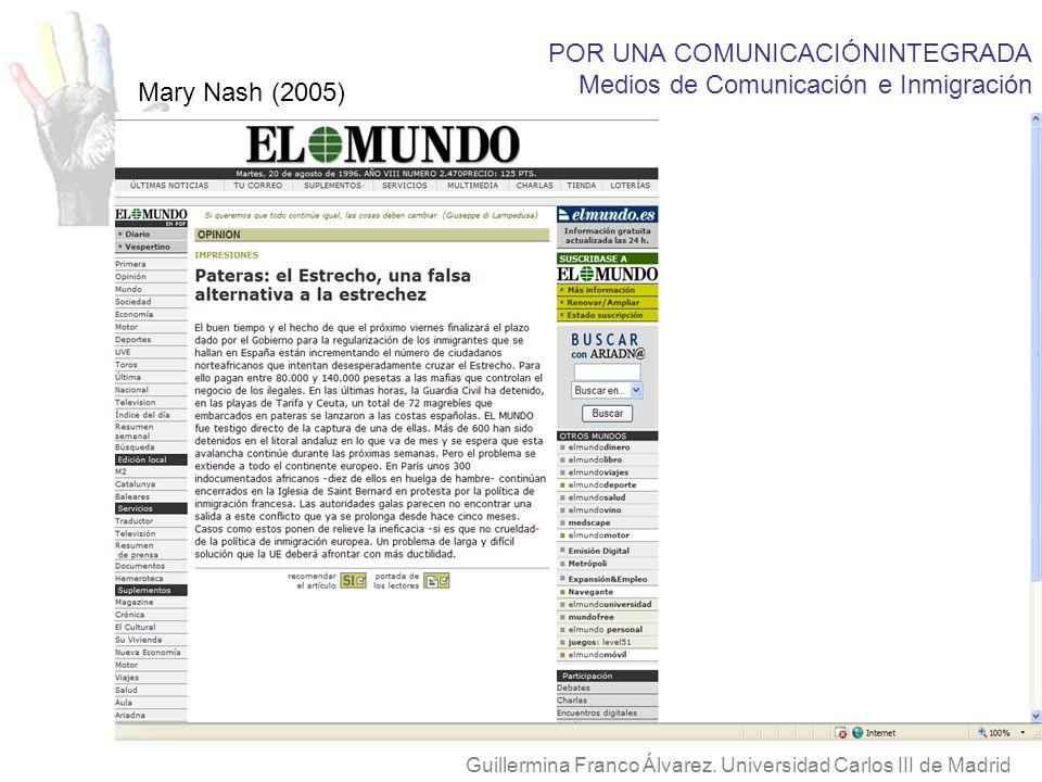 POR UNA COMUNICACIÓNINTEGRADA Medios de Comunicación e Inmigración Guillermina Franco Álvarez. Universidad Carlos III de Madrid Mary Nash (2005)