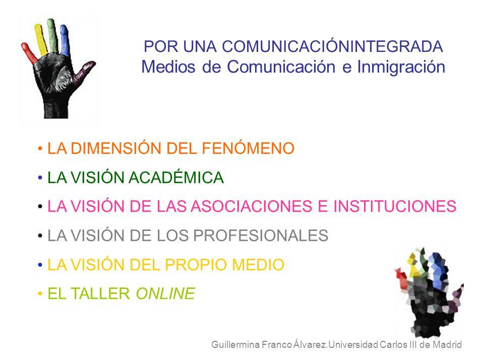 POR UNA COMUNICACIÓNINTEGRADA Medios de Comunicación e Inmigración Guillermina Franco Álvarez.Universidad Carlos III de Madrid LA DIMENSIÓN DEL FENÓME