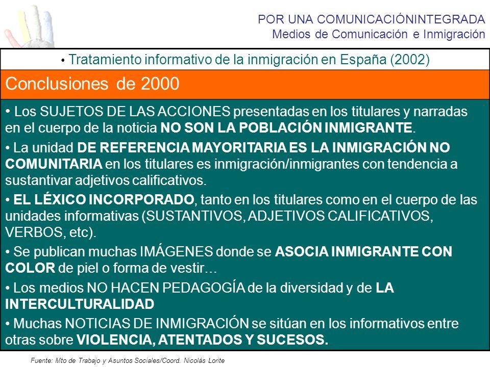 POR UNA COMUNICACIÓNINTEGRADA Medios de Comunicación e Inmigración Tratamiento informativo de la inmigración en España (2002) Conclusiones de 2000 Los