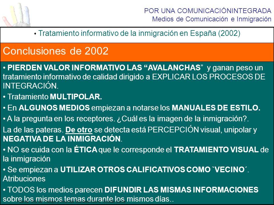 POR UNA COMUNICACIÓNINTEGRADA Medios de Comunicación e Inmigración Tratamiento informativo de la inmigración en España (2002) Conclusiones de 2002 PIE