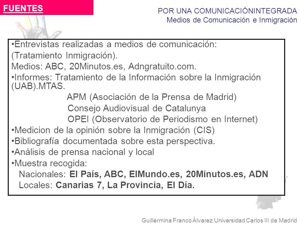 POR UNA COMUNICACIÓNINTEGRADA Medios de Comunicación e Inmigración Guillermina Franco Álvarez.Universidad Carlos III de Madrid Entrevistas realizadas