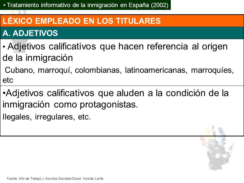 LÉXICO EMPLEADO EN LOS TITULARES A. ADJETIVOS Adjetivos calificativos que hacen referencia al origen de la inmigración Cubano, marroquí, colombianas,