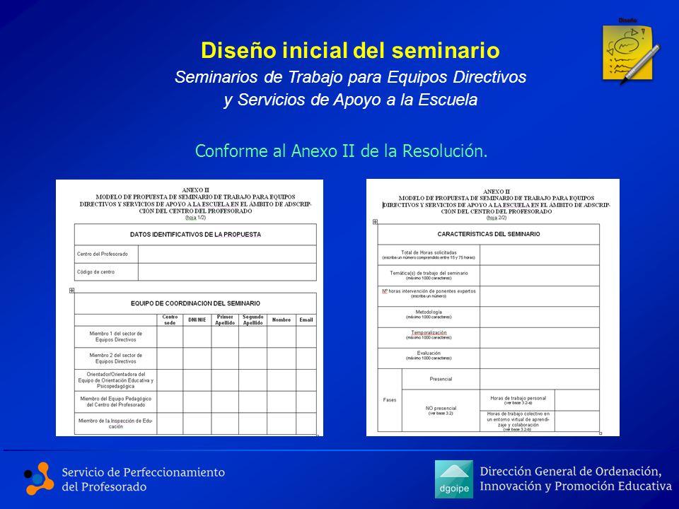 Conforme al Anexo II de la Resolución. Diseño inicial del seminario Seminarios de Trabajo para Equipos Directivos y Servicios de Apoyo a la Escuela