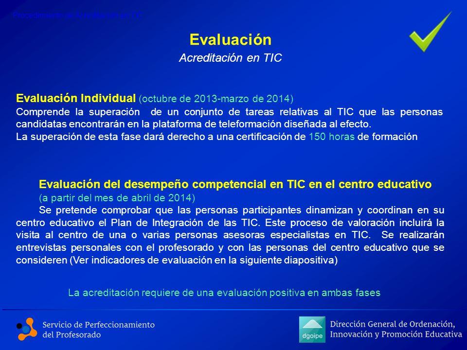 Evaluación Individual (octubre de 2013-marzo de 2014) Comprende la superación de un conjunto de tareas relativas al TIC que las personas candidatas en