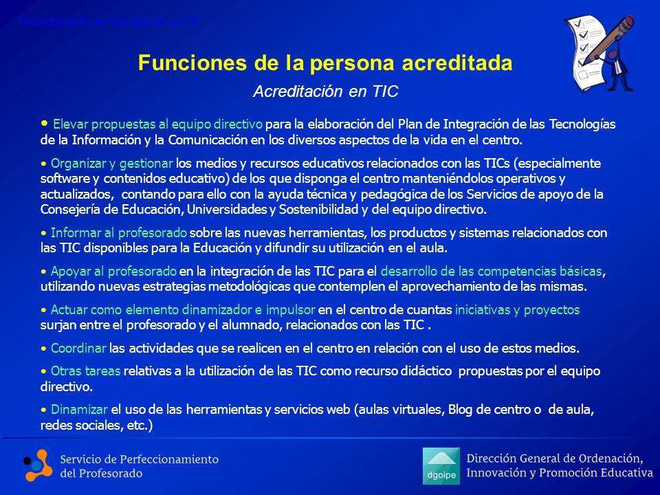 Funciones de la persona acreditada Elevar propuestas al equipo directivo para la elaboración del Plan de Integración de las Tecnologías de la Informac