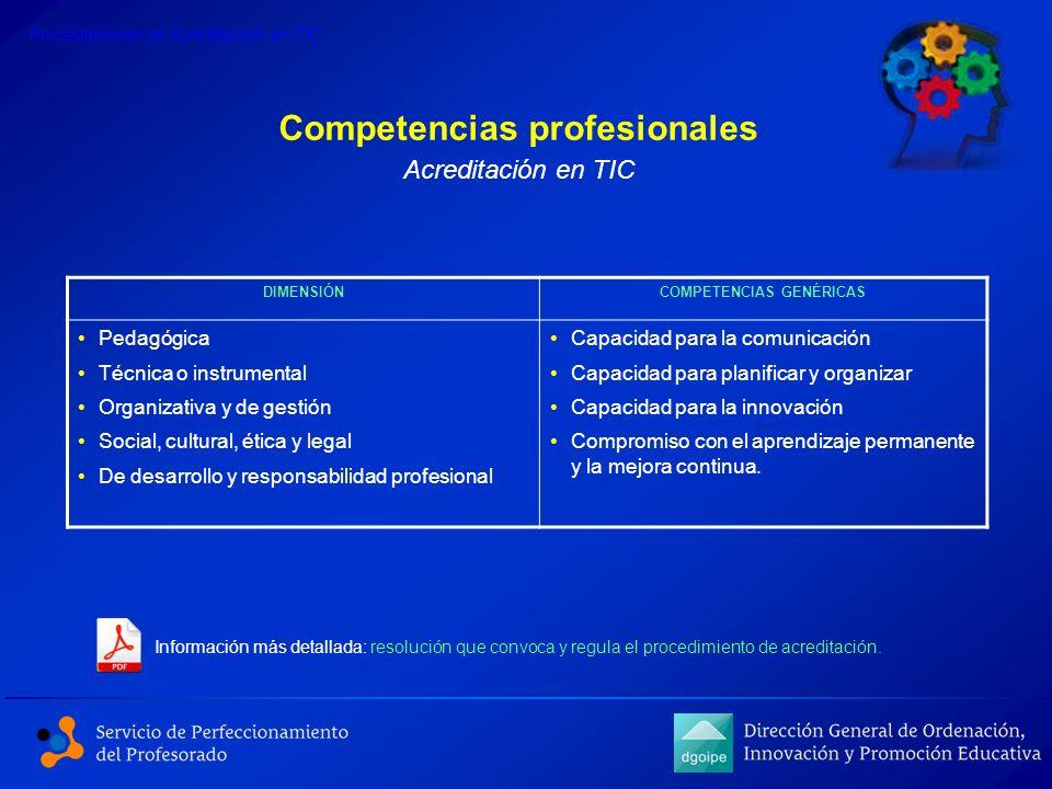 Competencias profesionales Información más detallada: resolución que convoca y regula el procedimiento de acreditación. Procedimiento de Acreditación
