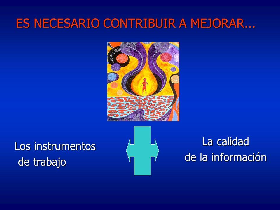 Los instrumentos de trabajo de trabajo ES NECESARIO CONTRIBUIR A MEJORAR... La calidad de la información