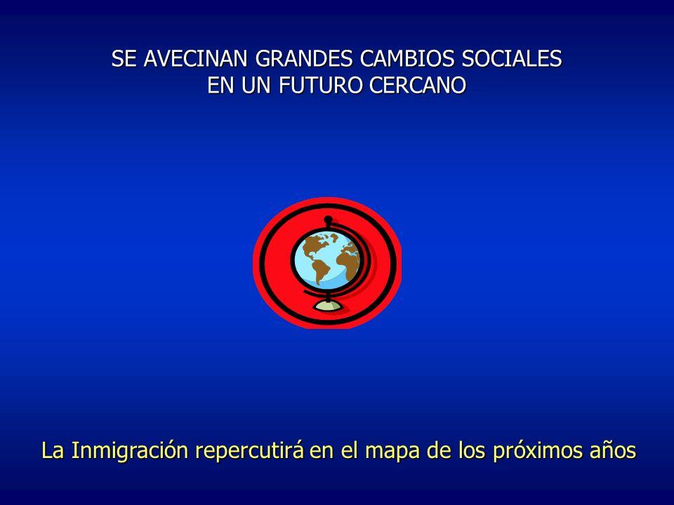 SE AVECINAN GRANDES CAMBIOS SOCIALES EN UN FUTURO CERCANO La Inmigración repercutirá en el mapa de los próximos años