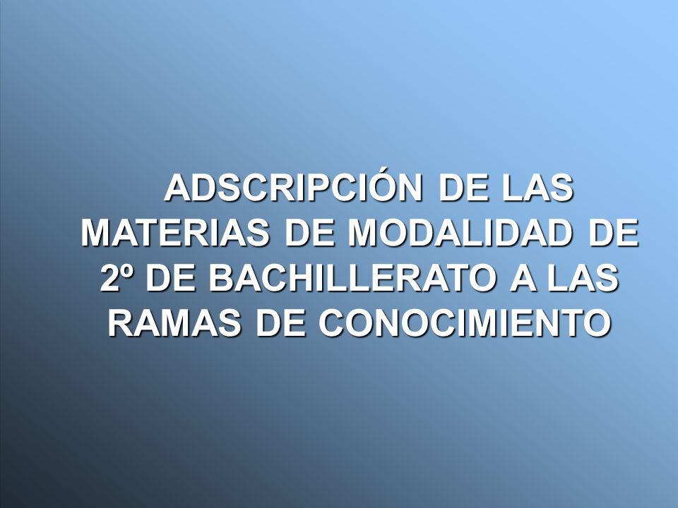 ADSCRIPCIÓN DE LAS MATERIAS DE MODALIDAD DE 2º DE BACHILLERATO A LAS RAMAS DE CONOCIMIENTO