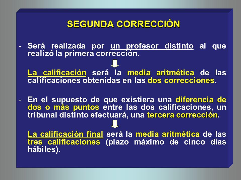 SEGUNDA CORRECCIÓN SEGUNDA CORRECCIÓN -Será realizada por un profesor distinto al que realizó la primera corrección.