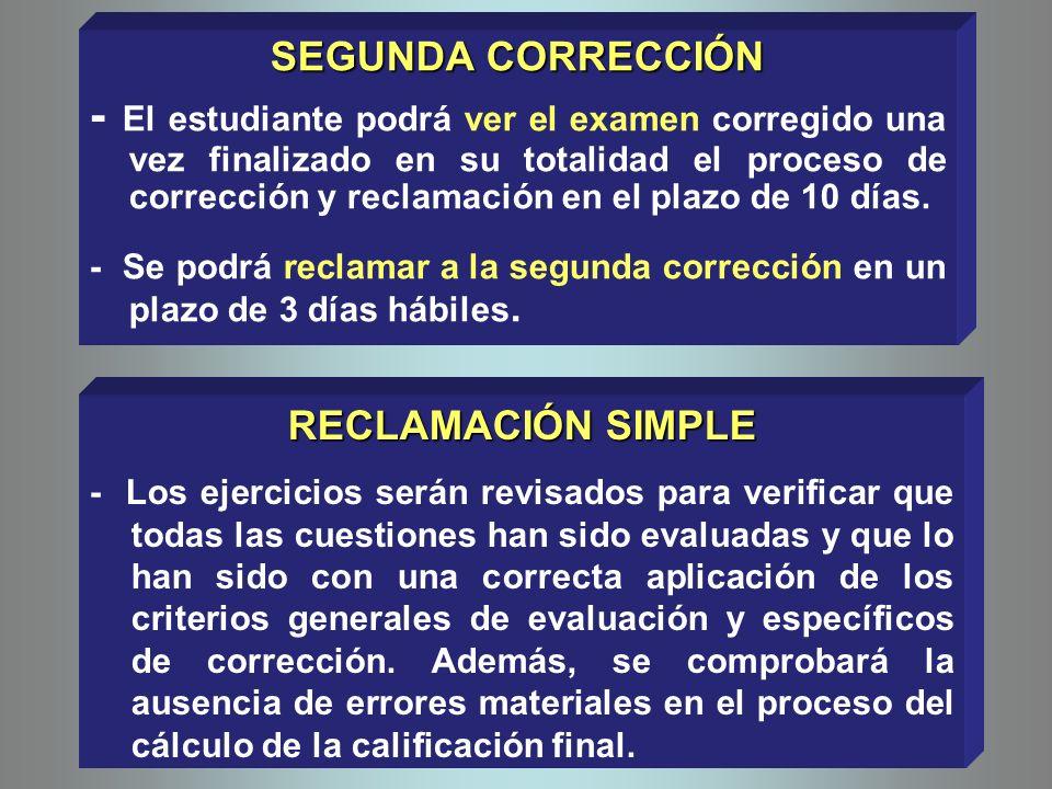 SEGUNDA CORRECCIÓN - El estudiante podrá ver el examen corregido una vez finalizado en su totalidad el proceso de corrección y reclamación en el plazo de 10 días.