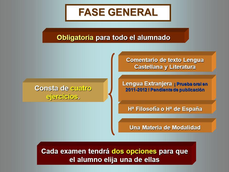 FASE GENERAL Consta de cuatro ejercicios.