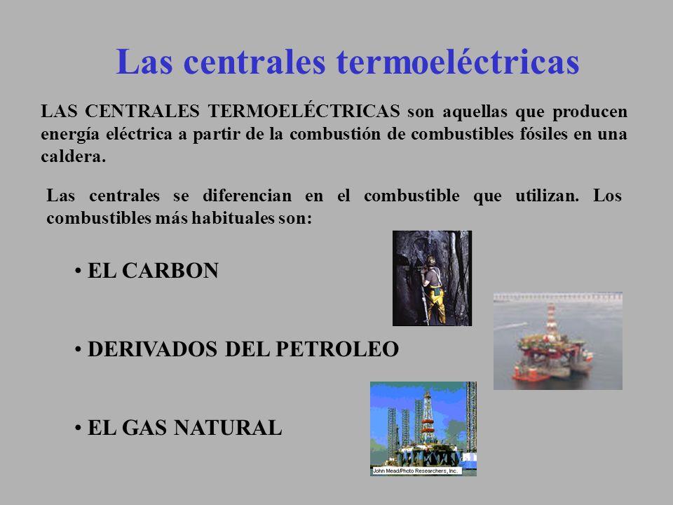 Central térmica (Funcionamiento) La transformación de energía sigue el siguiente proceso: -La energía calorífica producida por el carbón, fuel o gas natural, calienta en la caldera el fluido portador de calor (agua) hasta que alcanza la temperatura deseada.