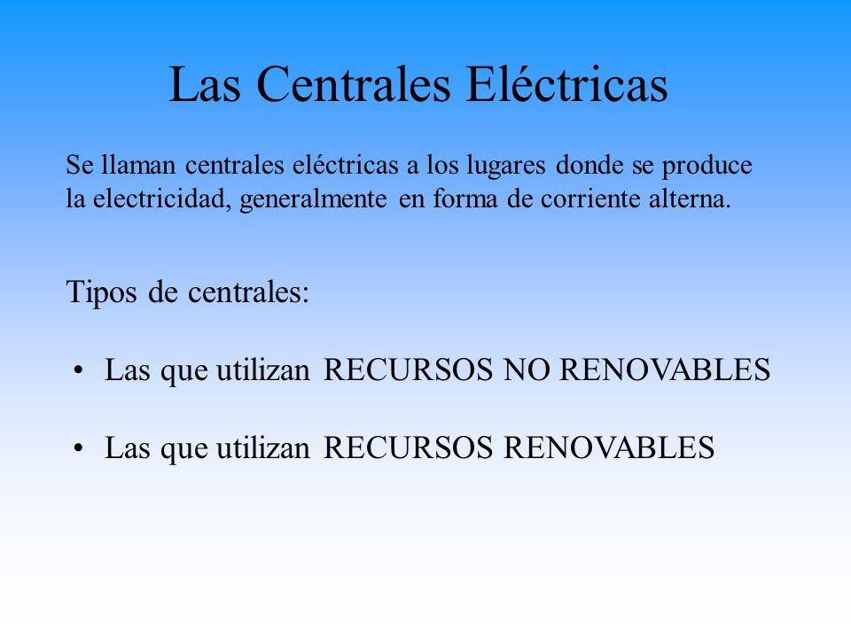 Las Centrales Eléctricas RECURSOS RENOVABLES No se agotan al consumirlos Son los que originan menor impacto ambiental.