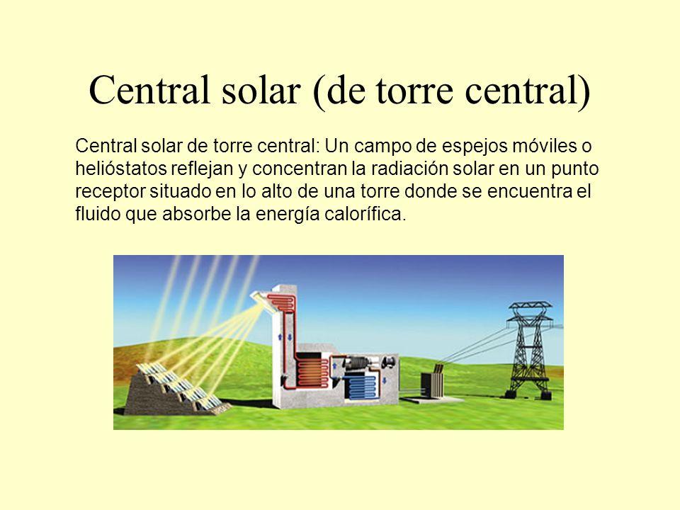 Central solar (de colector distribuido) Central termo solar de colector distribuido: Un grupo de espejos curvos y orientables proyecta la radiación sobre una tubería que los recorre y por la cual circula aceite térmico.