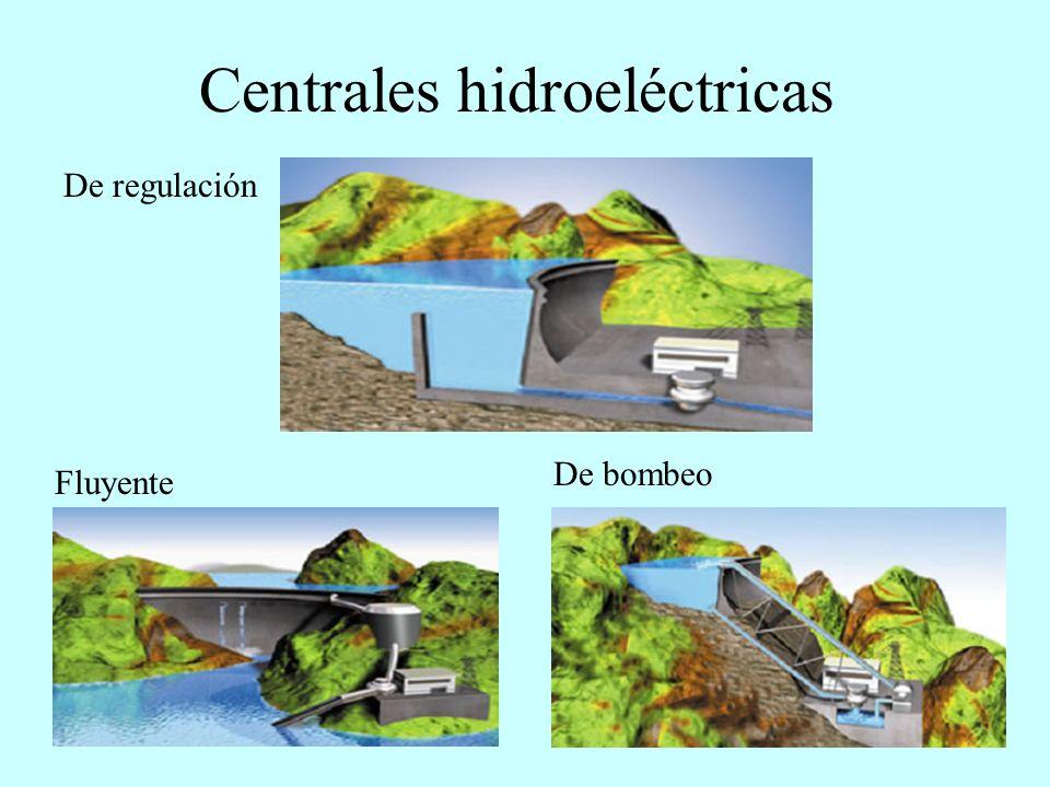 Central hidroeléctrica (de regulación) Centrales de regulación: Se emplean en ríos con caudal irregular o con poca pendiente.