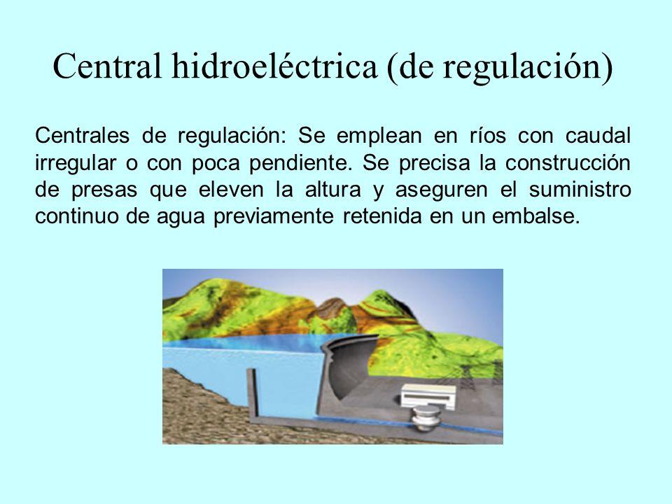 Central hidroeléctrica (fluyente) Centrales fluyentes: Se utilizan en ríos que atraviesan relieves muy accidentados y con caudal regular.