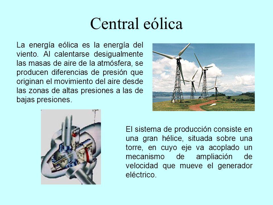 Central mareomotriz Las centrales maremotrices aprovechan la energía potencial que se deriva de la diferencia de nivel del agua del mar provocado por las mareas.