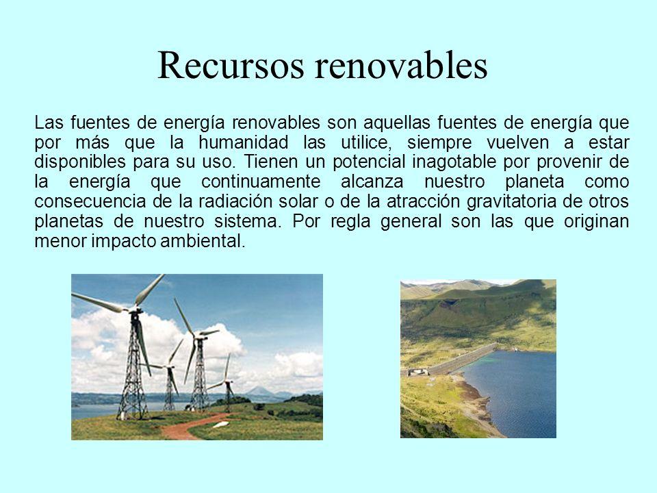 Centrales solares Centrales eólicas Centrales hidroeléctricas Centrales mareomotrices Centrales geotérmicas Biomasa Las Centrales Eléctricas que utilizan recursos renovables