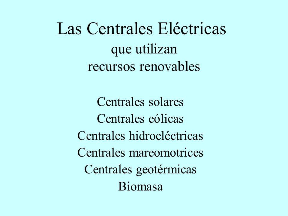 LA PRODUCCIÓN DE ENERGÍA ELÉCTRICA Las Centrales eléctricas que utilizan recursos no renovables