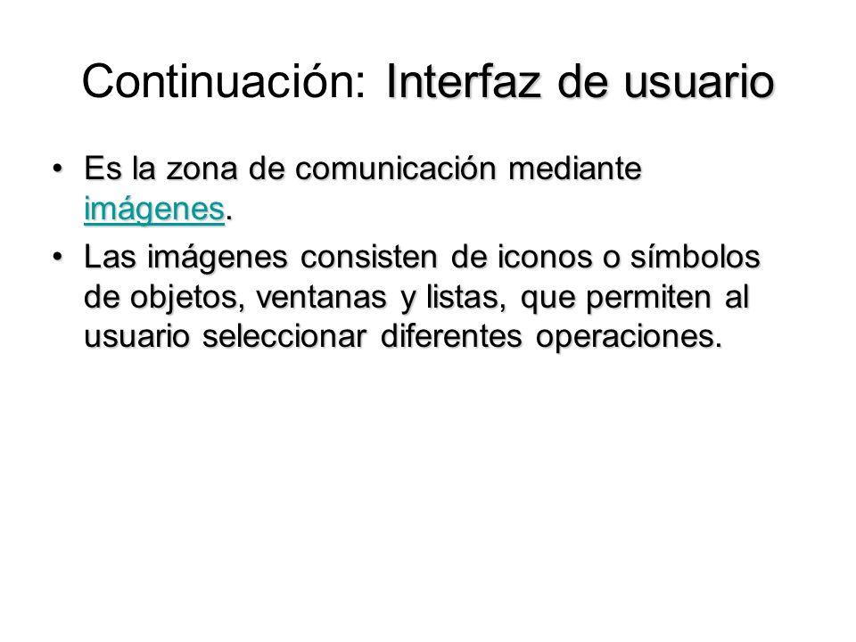 Interfaz de usuario Continuación: Interfaz de usuario Es la zona de comunicación mediante imágenes.Es la zona de comunicación mediante imágenes. imáge