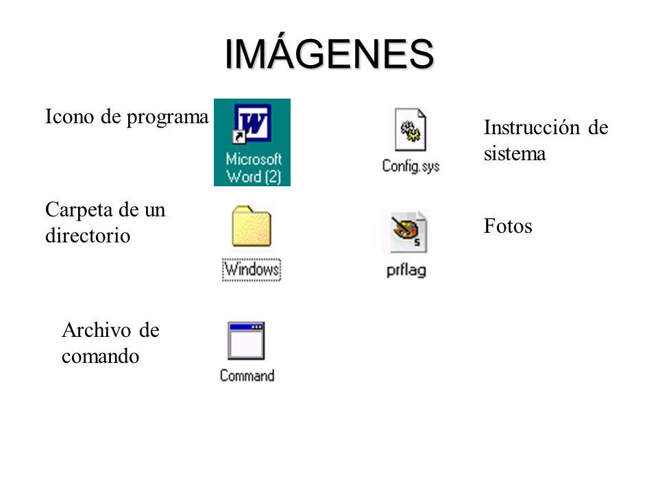 IMÁGENES Icono de programa Carpeta de un directorio Archivo de comando Instrucción de sistema Fotos