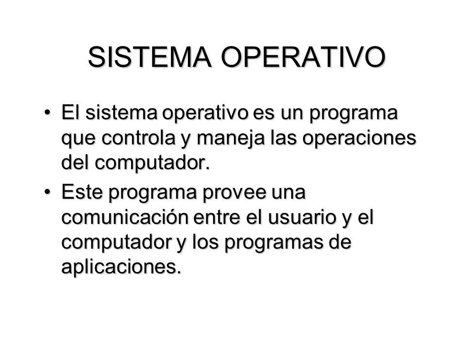 SISTEMA OPERATIVO El sistema operativo es un programa que controla y maneja las operaciones del computador.El sistema operativo es un programa que con
