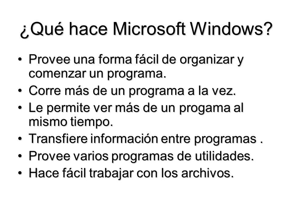 ¿Qué hace Microsoft Windows? Provee una forma fácil de organizar y comenzar un programa.Provee una forma fácil de organizar y comenzar un programa. Co