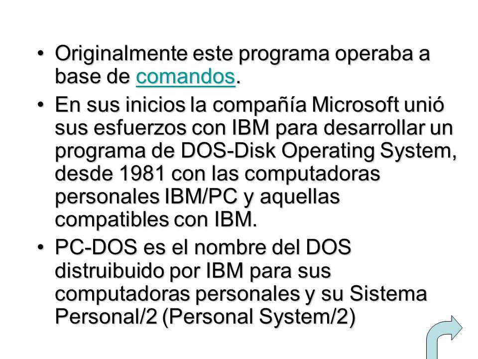 Originalmente este programa operaba a base de comandos.Originalmente este programa operaba a base de comandos.comandos En sus inicios la compañía Micr