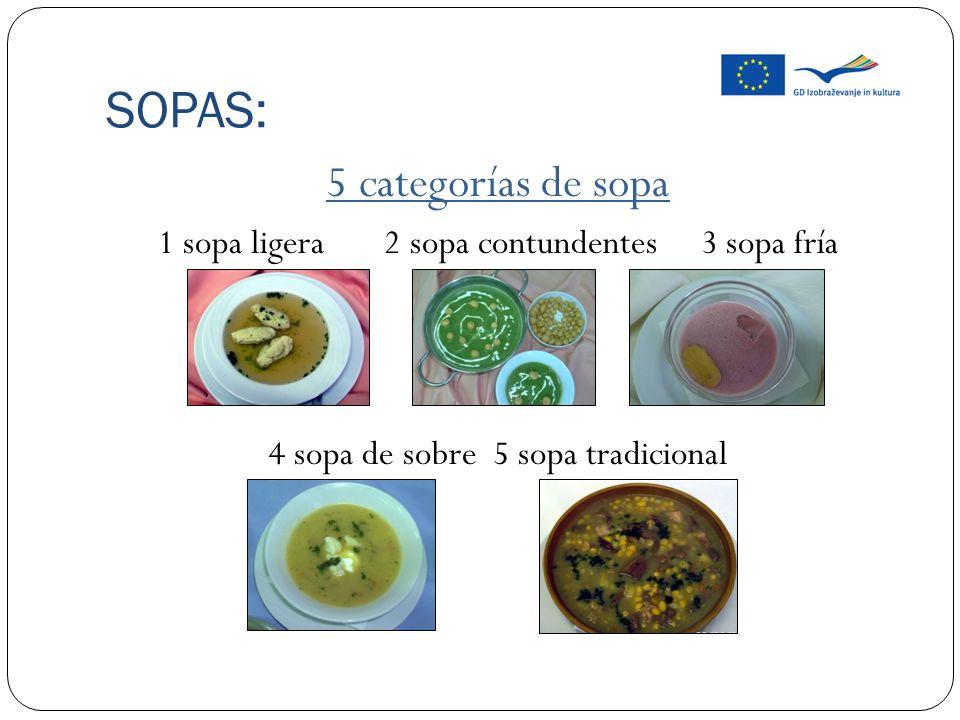 SOPAS: Sopa de ternera.Sopa de pollo. Sopa de pescado.