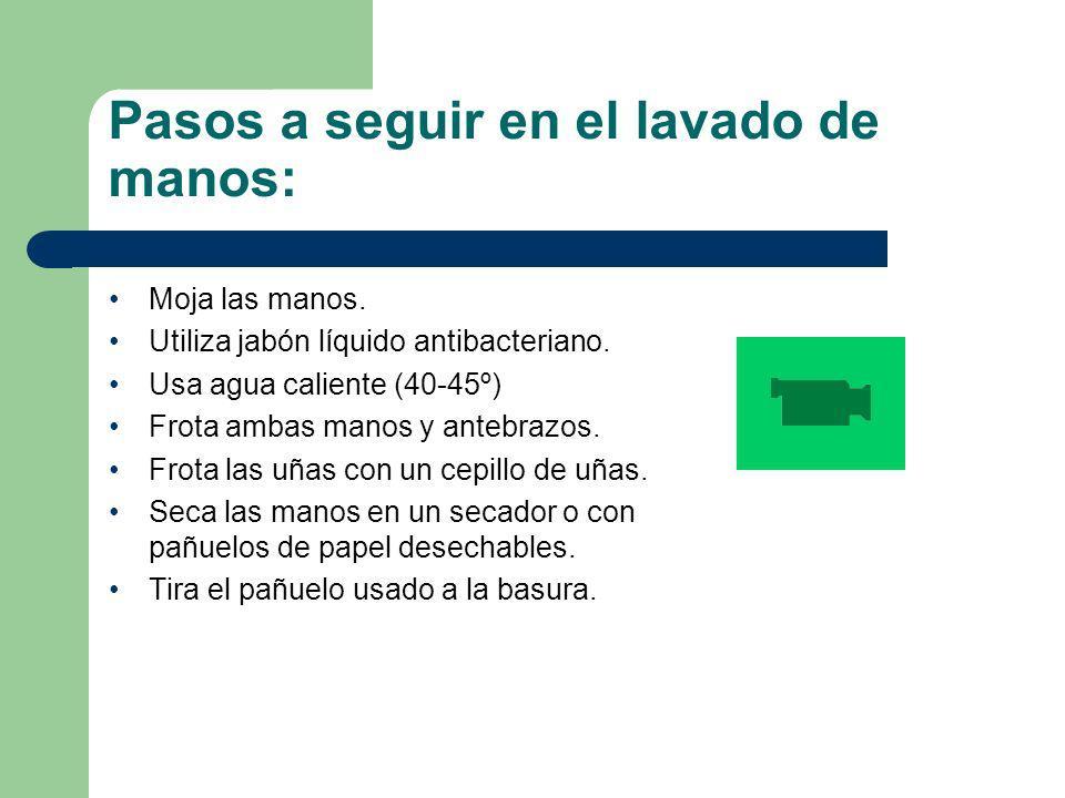 Pasos a seguir en el lavado de manos: Moja las manos. Utiliza jabón líquido antibacteriano. Usa agua caliente (40-45º) Frota ambas manos y antebrazos.