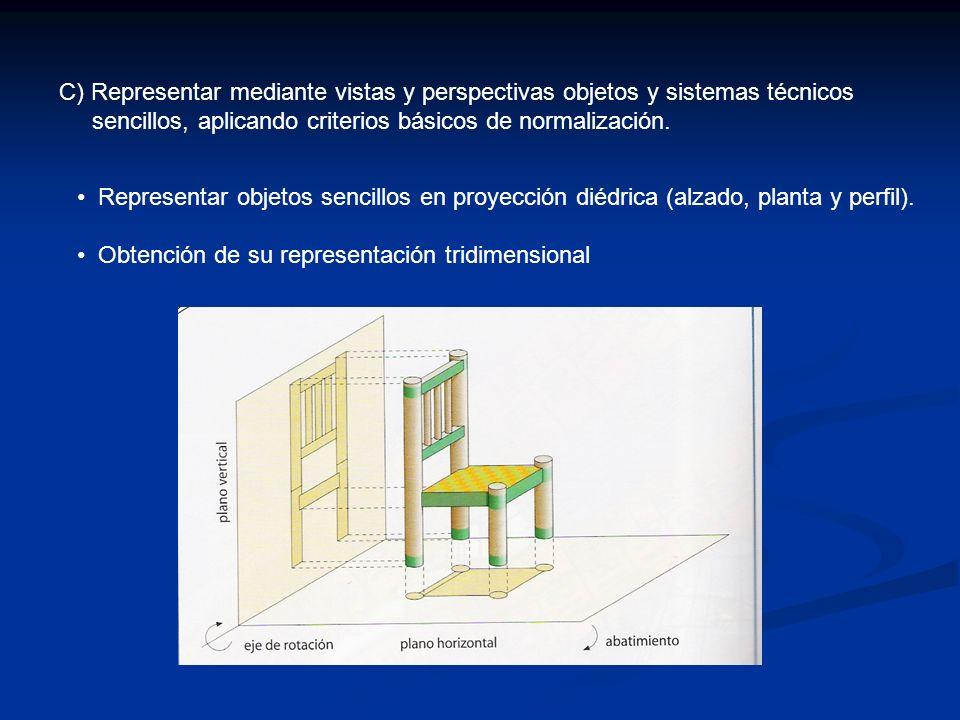 C) Representar mediante vistas y perspectivas objetos y sistemas técnicos sencillos, aplicando criterios básicos de normalización. Representar objetos