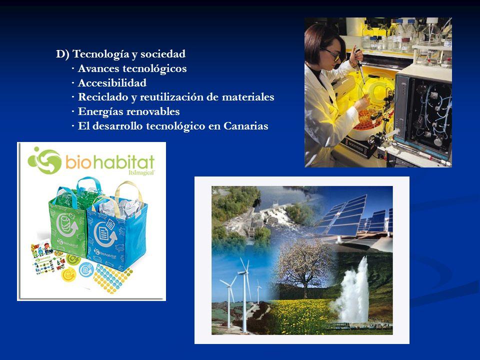 D) Tecnología y sociedad · Avances tecnológicos · Accesibilidad · Reciclado y reutilización de materiales · Energías renovables · El desarrollo tecnol