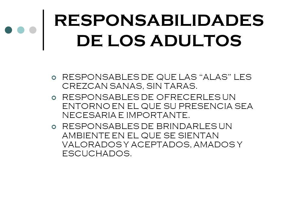 RESPONSABILIDADES DE LOS ADULTOS RESPONSABLES DE QUE LAS ALAS LES CREZCAN SANAS, SIN TARAS. RESPONSABLES DE OFRECERLES UN ENTORNO EN EL QUE SU PRESENC