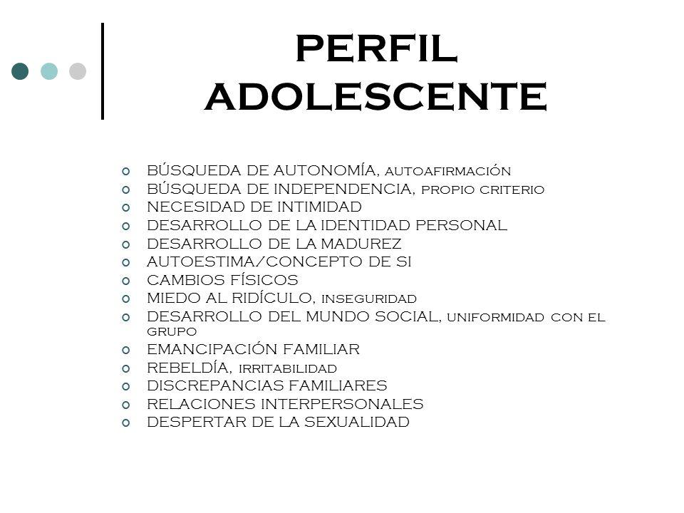 PERFIL ADOLESCENTE BÚSQUEDA DE AUTONOMÍA, autoafirmación BÚSQUEDA DE INDEPENDENCIA, propio criterio NECESIDAD DE INTIMIDAD DESARROLLO DE LA IDENTIDAD