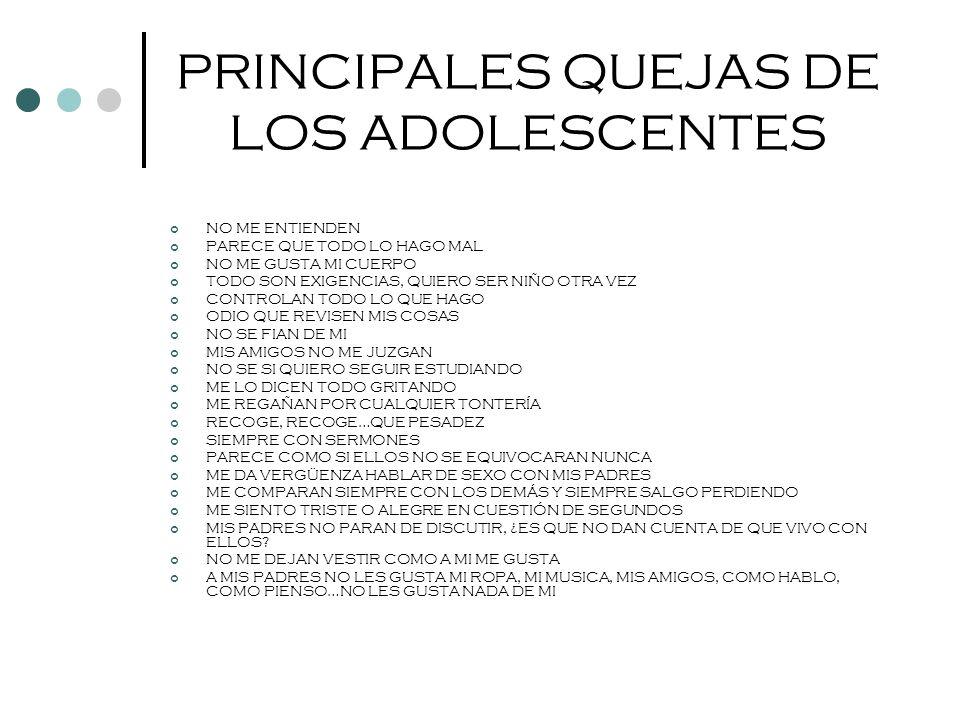 PRINCIPALES QUEJAS DE LOS ADOLESCENTES NO ME ENTIENDEN PARECE QUE TODO LO HAGO MAL NO ME GUSTA MI CUERPO TODO SON EXIGENCIAS, QUIERO SER NIÑO OTRA VEZ