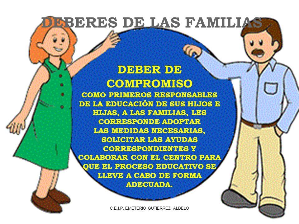 DEBERES DE LAS FAMILIAS DEBER DE COMPROMISO COMO PRIMEROS RESPONSABLES DE LA EDUCACIÓN DE SUS HIJOS E HIJAS, A LAS FAMILIAS, LES CORRESPONDE ADOPTAR LAS MEDIDAS NECESARIAS, SOLICITAR LAS AYUDAS CORRESPONDIENTES Y COLABORAR CON EL CENTRO PARA QUE EL PROCESO EDUCATIVO SE LLEVE A CABO DE FORMA ADECUADA.