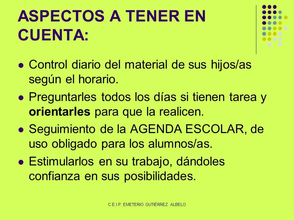 ASPECTOS A TENER EN CUENTA: Control diario del material de sus hijos/as según el horario.