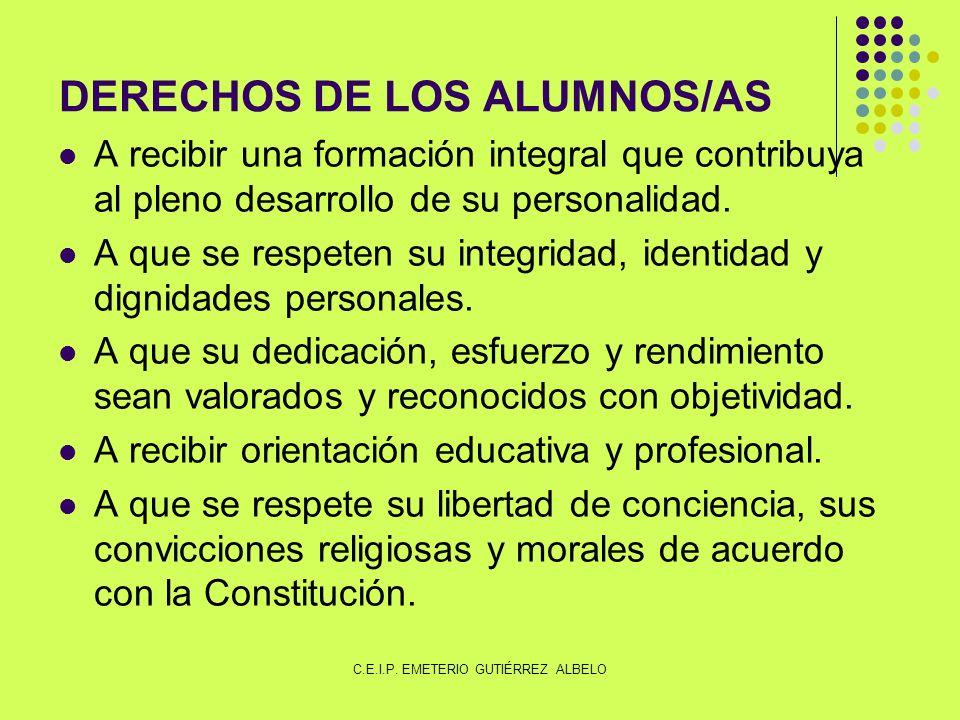 DERECHOS DE LOS ALUMNOS/AS A recibir una formación integral que contribuya al pleno desarrollo de su personalidad.