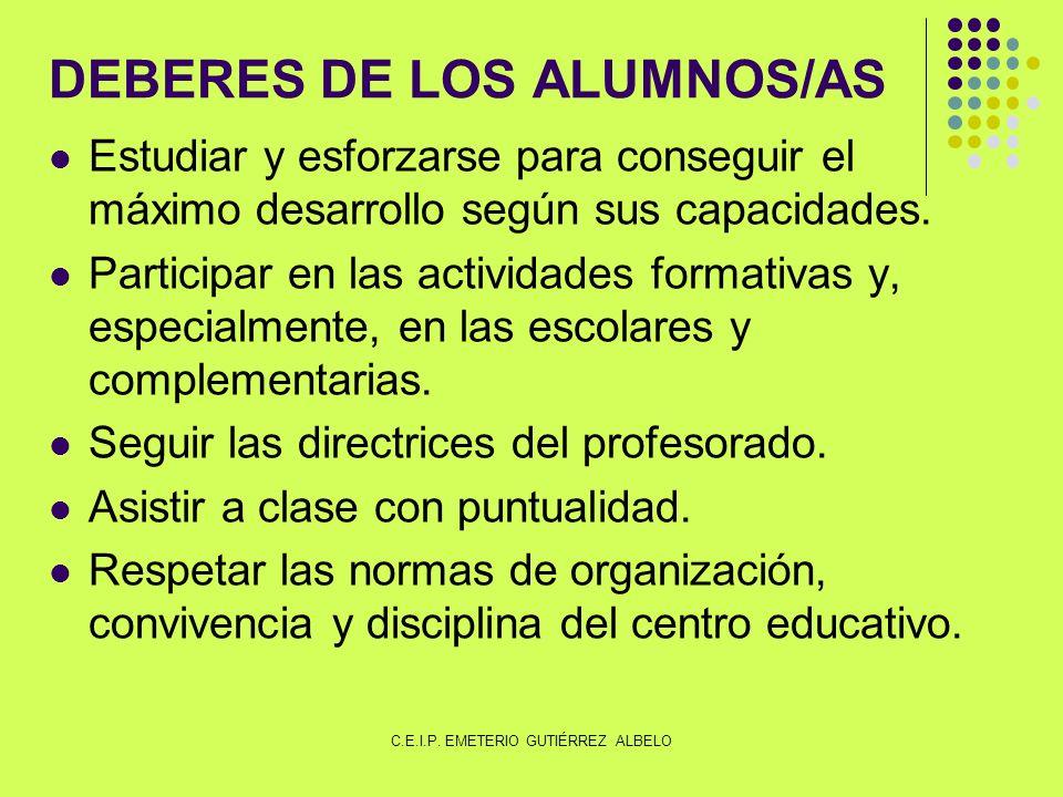 DEBERES DE LOS ALUMNOS/AS Estudiar y esforzarse para conseguir el máximo desarrollo según sus capacidades.