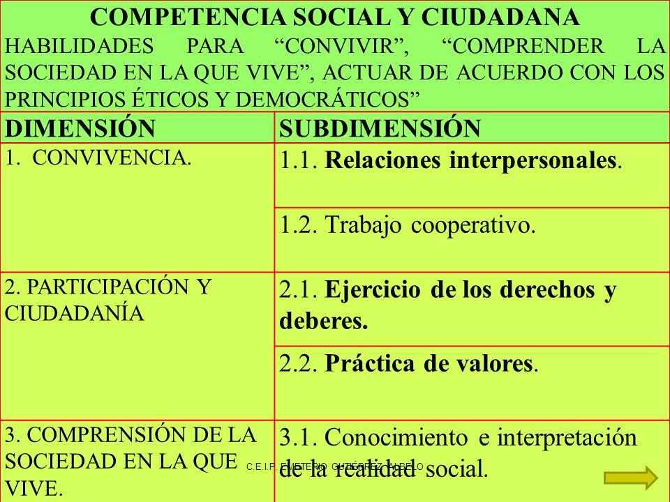 COMPETENCIA SOCIAL Y CIUDADANA HABILIDADES PARA CONVIVIR, COMPRENDER LA SOCIEDAD EN LA QUE VIVE, ACTUAR DE ACUERDO CON LOS PRINCIPIOS ÉTICOS Y DEMOCRÁTICOS DIMENSIÓNSUBDIMENSIÓN 1.