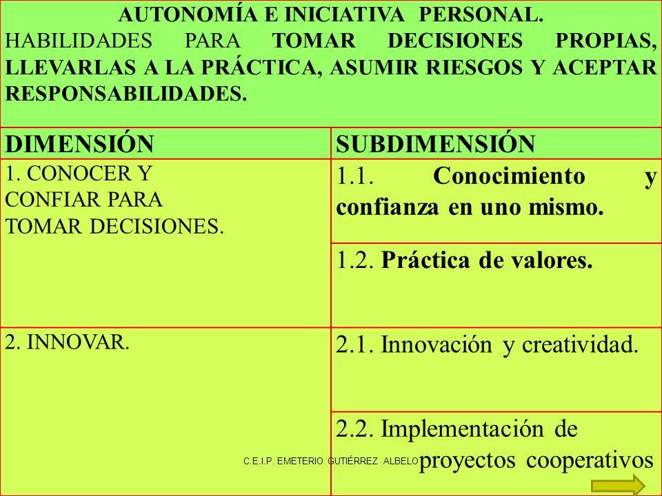AUTONOMÍA E INICIATIVA PERSONAL.