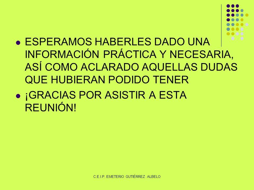 ESPERAMOS HABERLES DADO UNA INFORMACIÓN PRÁCTICA Y NECESARIA, ASÍ COMO ACLARADO AQUELLAS DUDAS QUE HUBIERAN PODIDO TENER ¡GRACIAS POR ASISTIR A ESTA REUNIÓN.
