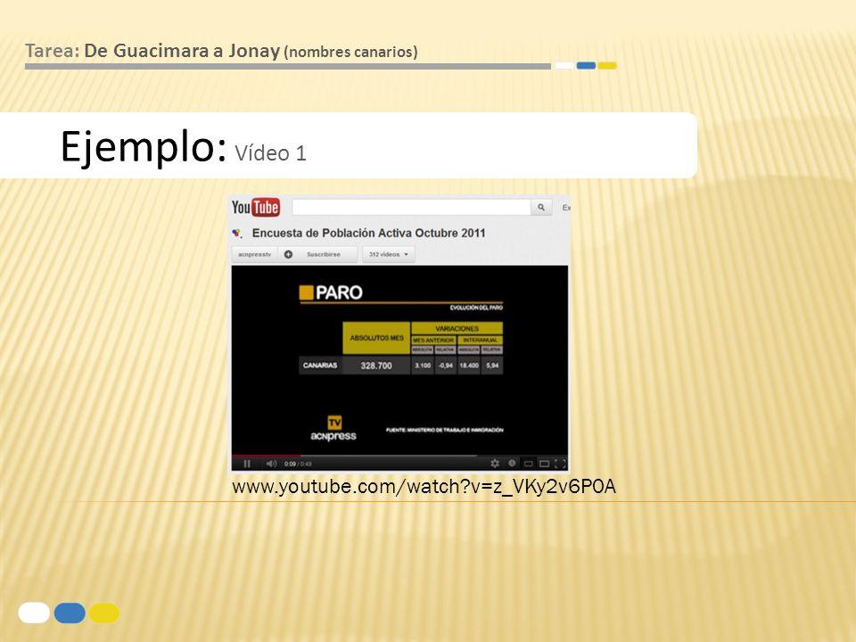 Ejemplo: Vídeo 1 Tarea: De Guacimara a Jonay (nombres canarios) www.youtube.com/watch?v=z_VKy2v6P0A